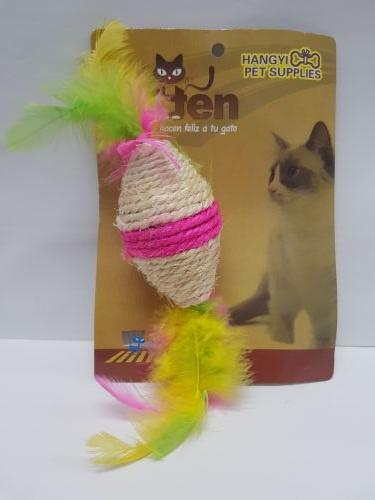 Sisal Roller Toy with Feathers