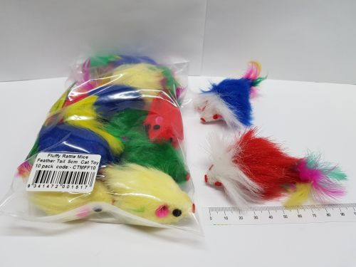 Cat Toy Fluffy mice feather tail 10 pack