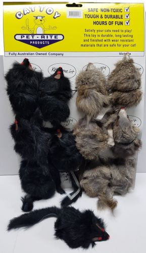 Real Fur Mice 4.5inch with Squeak Card of 12