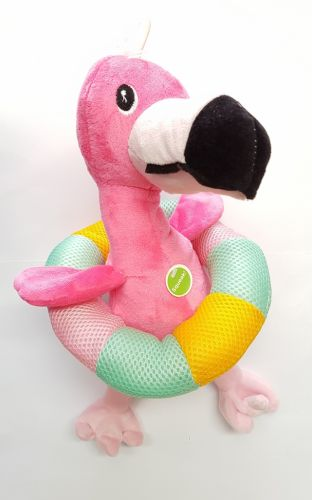 Plush Flamingo with Pool Ring 36cm