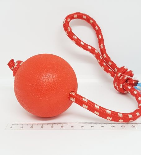 Rubber Ball 70mm on Rope 28cm Dog Toy